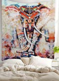 Pertongty Indian Flower Elephant Mandala Tapestry Wall Hanging Bedspread Throw Hippie Boho Decoration (Large/80'' x 60'', Pattern 01)
