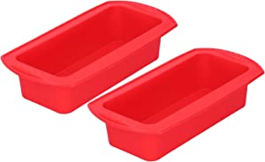 Genericl 2Pcs Rectangle Silicone Cake Pan Bread Mold, Baking Tool 2lb Cake Moulds Accessory, DIY Food Grade Silicone Cake Chocolake Maker for Birthday Party Cake Cupcake Supplies