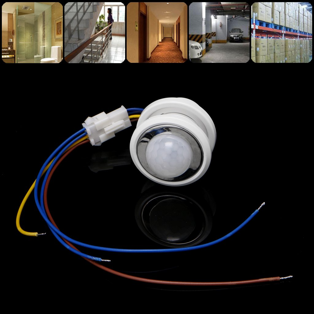 Abicial 40mm LED PIR Detector Infrared Motion Sensor Switch with Adjustable Delay