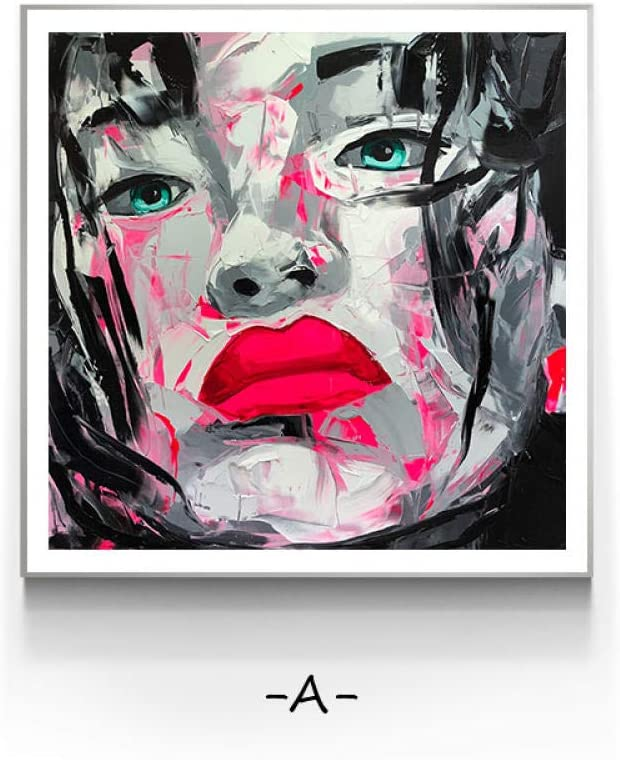 Póster con impresión estilo cuadro de lienzo con caras abstractas para mujeres cuadros de decoración de pared moderna para arte de sala de estar pintura para dormitorio pasillo café-30x30cm-Sin marco