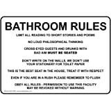 ComplianceSigns Aluminum Restroom Etiquette Sign, 10 x 7 in. with English  Text, White