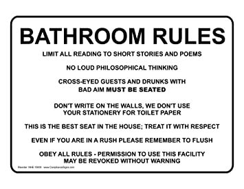 Bathroom Rules Sign NHE 15938 Restroom Etiquette