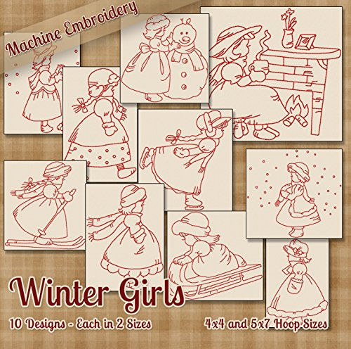 Winter Girls Redwork Embroidery Machine Designs on CD - 10 Beautiful Outline Style Patterns - 2 Sizes Each - Multiformat CD