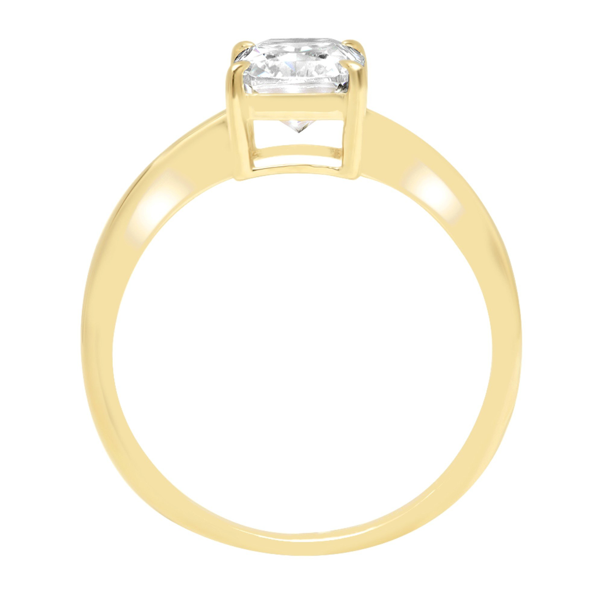Radiant Brilliant Cut Classic Solitaire Designer Wedding Bridal Statement Anniversary Engagement Promise Ring Solid 14k Yellow Gold, 2.7ct, 5 by Clara Pucci (Image #1)