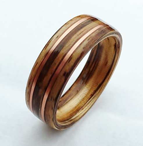 Non Metal Wedding Bands >> Amazon Com Bentwood Ring Zebrawood And Copper Wood Wedding Band