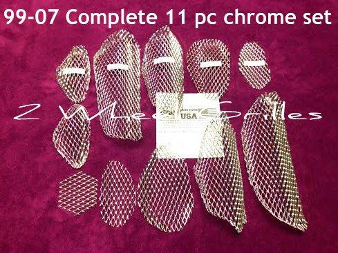 Chrome Plated Fairing (1999-2007 Suzuki Hayabusa GSXR 1300 11 Piece Chrome Fairing Tail & Nose Grills Screens Vents)