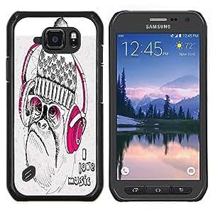 Dragon Case - FOR Samsung Galaxy S6 active/G870A/G890A (Not Fit S6) - I love music - Caja protectora de pl??stico duro de la cubierta Dise?¡Ào Slim Fit