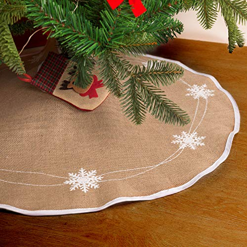 HOHOTIME Christmas Tree Skirt 30 inch Burlap White Snowflake Pattern Tree Skirt Mat for Xmas Holiday Party Decorations (Natural Burlap Skirt Tree Christmas)