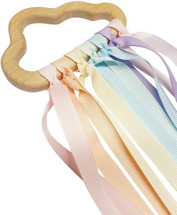 Montessori toy Montessori Hand Kite Rainbow Colours Waldorf Toys Wind Wand Play Therapy Wooden Ring Sensory Ribbon Rainbow Hand Kite