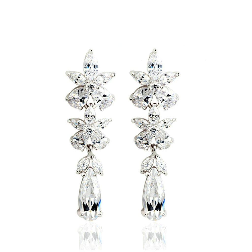 Gold Plated Earring Women Girl Flower Stud Earrings White Wedding Gift for Her Cubic Zirconia