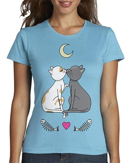 latostadora - Camiseta Gatos Enamorados Kawaii para Mujer: pendientera: Amazon.es: Ropa y accesorios