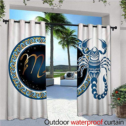 homehot Zodiac Scorpio Fashions Drape Circle Shapes with Waves Pattern and an Ornamental Scorpion Outdoor Curtain Waterproof Rustproof Grommet Drape W108 x L108 Blue Indigo Pale Brown for $<!--$82.80-->