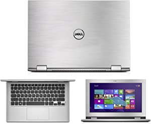 GADFLY Silver Brushed Aluminum Skin Decal wrap Skin case for Dell Inspiron 11 3000 Series 2 in 1 3147 11.6