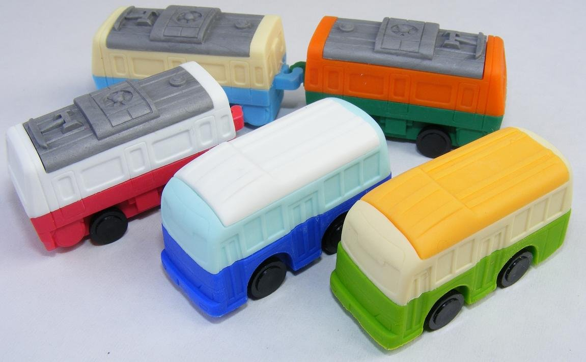 Train /& Bus Japanese Erasers Assorted Colors By PencilThings 5 Pack