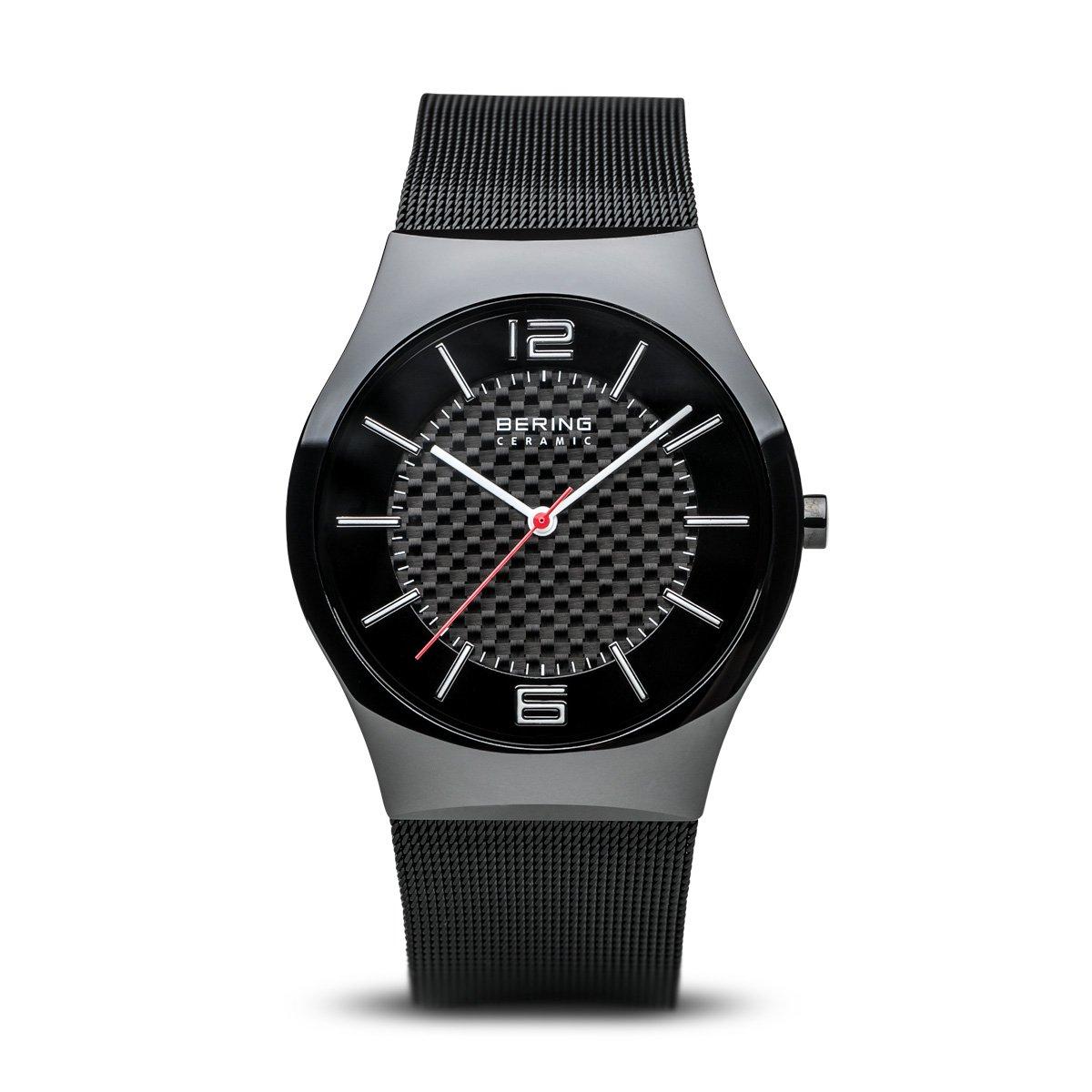 Bering Ceramic - Reloj analógico de caballero de cuarzo con correa de acero inoxidable negra - sumergible a 30 metros