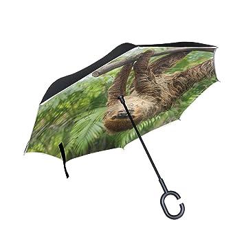 BENNIGIRY Bonito Paraguas de Doble Capa invertido con Tres Dedos, Color Marrón, con Protección