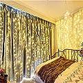 Bjour BGGD-61 18W Curtain Icicle Lights Christmas String Fairy Light Warm White, 600 LEDs, 8 Lighting Modes, 20ft Length x 10ft Width
