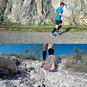 ODIJOO 4 Pairs Black Compression Socks for Men Women Running Nurses 20-30 mmHg (L/XL)