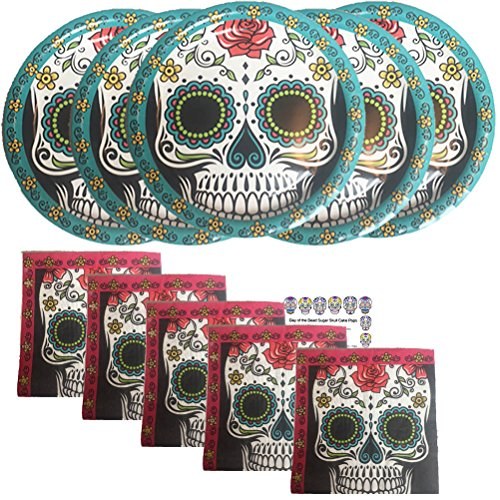 Paper Plates Dia De Los Muertos Mask Decorations Party Supplies Set Kit Day of the Dead Plates Sugar Skulls Napkins Recipe Serves 16 -