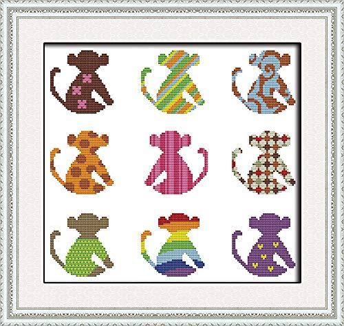 Zamtac Changeable Monkey Cross Stitch kit 14ct 11ct Print Canvas Hand sew Cross-Stitching Embroidery DIY Handmade Needlework - (Cross Stitch Fabric CT Number: 14ct Print Canvas)