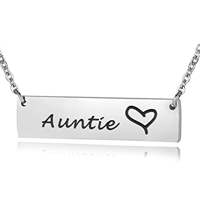 ENSIANTH Auntie Necklace Aunt Gift Bar From Nephew Niece Birthday For Amazoncouk Jewellery