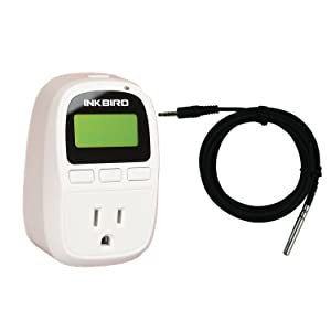 Inkbird Only Heating Thermostat 13.5A 1500W Digital C206T Temperature Controller Heater Time Cycle Setting Switch Timer Function ℉ ℃ Display NTC Sensor Seed Germination Reptile Brewing
