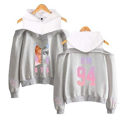 spyman Korean Kawaii Clothes Off Shoulder Tops Kpop BTS Rap Monster Hoodie Streetwear Women Long Sleeve Patchwork Sweatshirts Pullovers, Navy Blue, ...