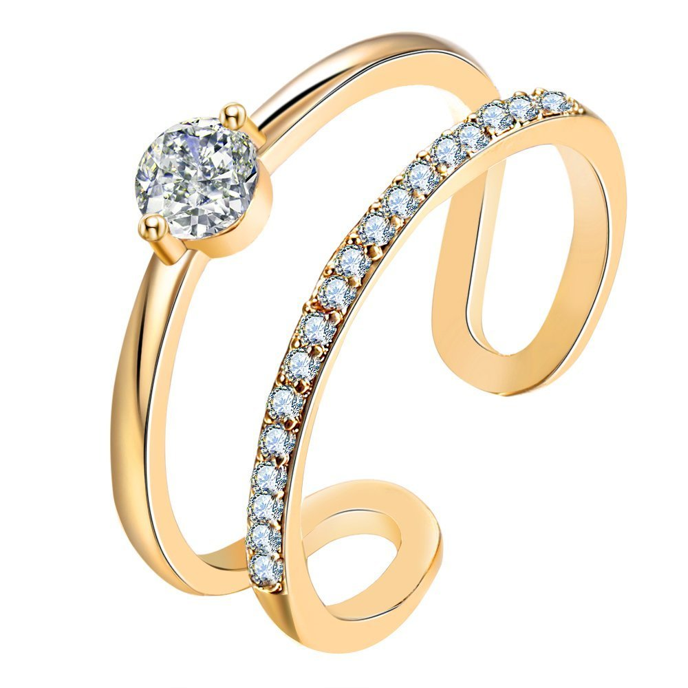 14K White Rose Gold Plated Ring ADJUSTABLE Open Size Double Row Wrap Cuff Skinny Ring Round Solitaire Cubic Zirconia CZ Minimalist Stacking Ring