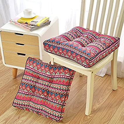 CocoQueen Home Indoor Outdoor Red Bohemian Chair Pads Cushions,Canvas  Fabric,Set Of 4
