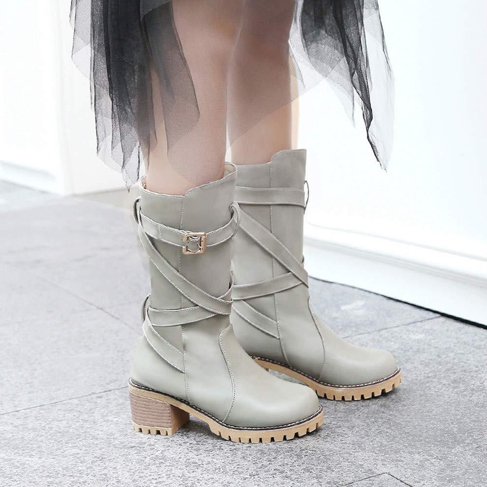 JiaMeng- Botas de Mujer Zapatos de Mujer Botines de Tobillo Mujer Botas Cuñas Botines Medio Tubo Cuero Botas Zapatos Hebilla Correa Arranque: Amazon.es: ...