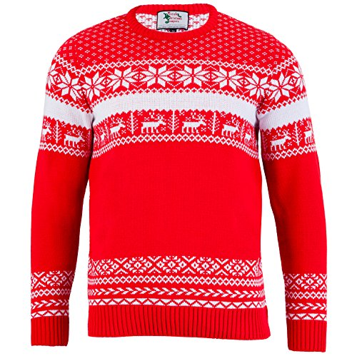 British Christmas Jumpers - The Nordic Mens Xmas Sweater - Made in Great Britain (XX-Large, Red)
