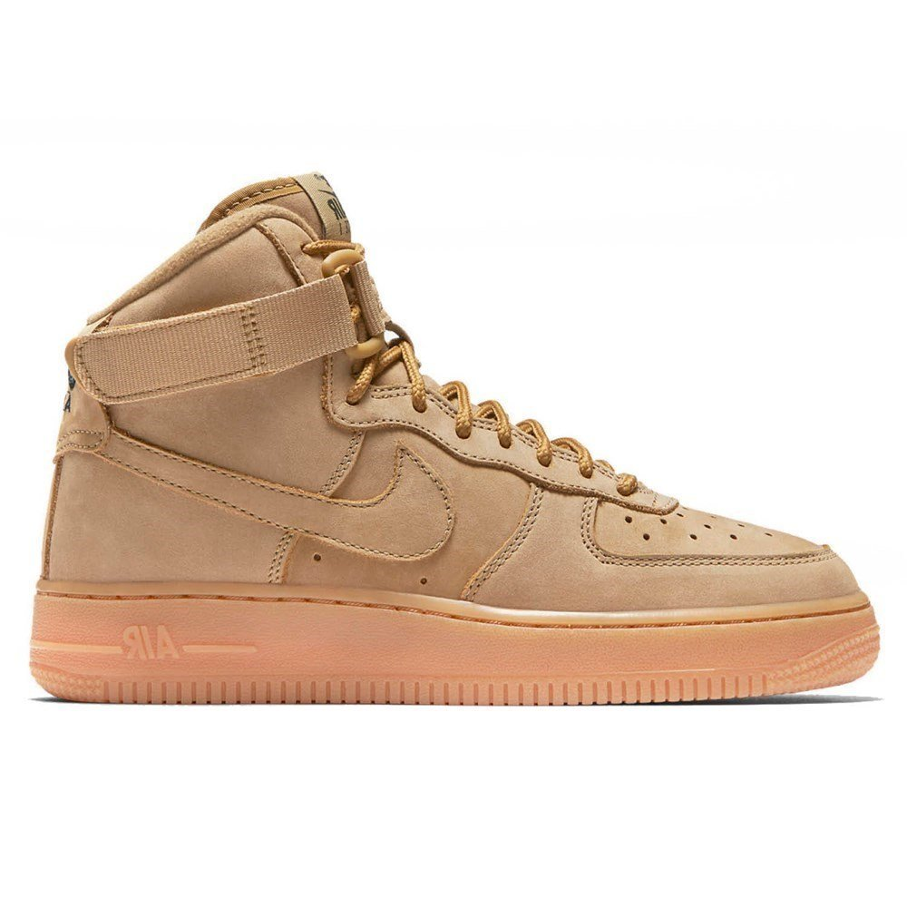 Nike Air Force 1 High WB GS Big Kids' Basketball Shoes Flax/Outdoor Green, 6.5