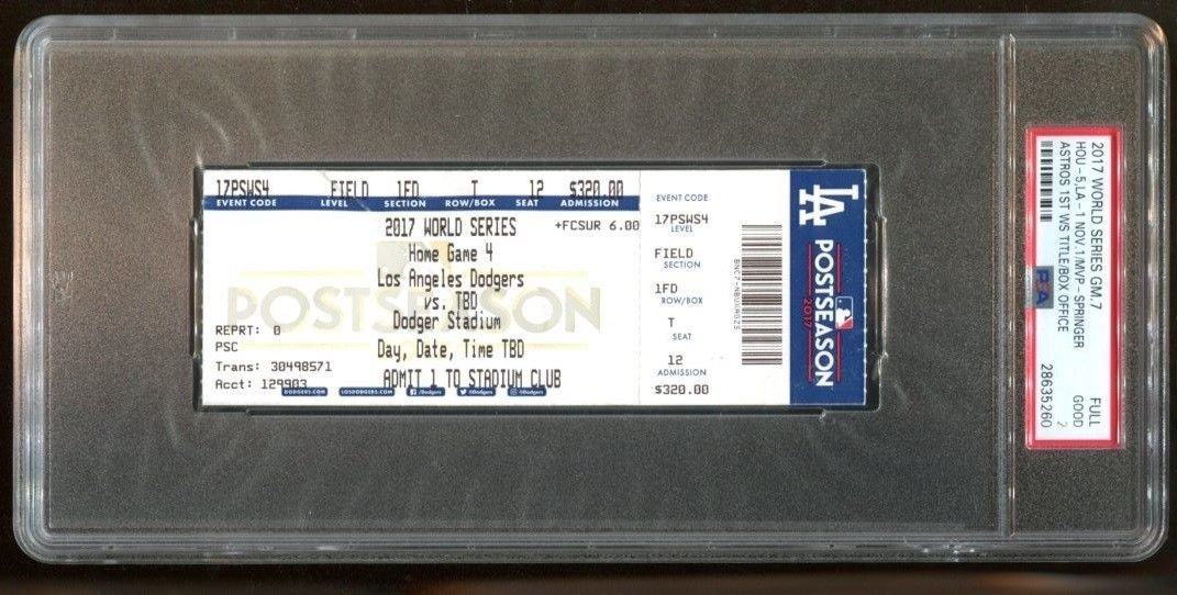 2017 World Series Final Game 7 Full Ticket Astros at Dodgers PSA 2 * 5260