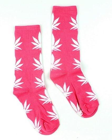 Calcetines con diseño de marihuana, color rosa con hojas blancas