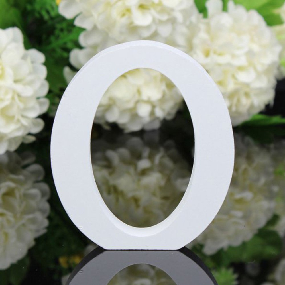 无 colgar en la pared, para boda, fiesta, casa, Small Letra del alfabeto en madera para decorar color blanco
