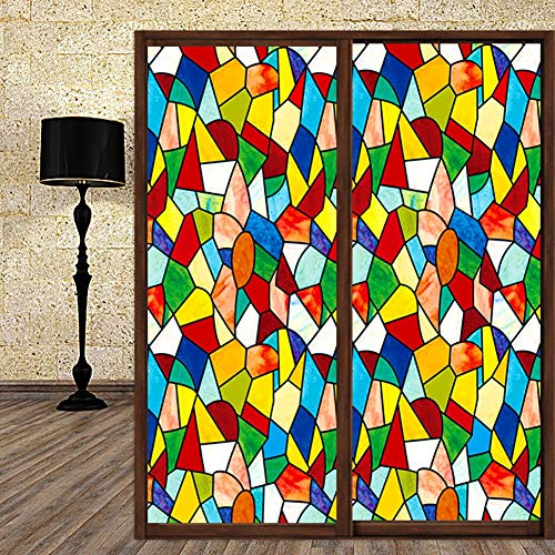 XXRBB Window Film Stained Glass Opaque Self-Adhesive Art Stickers, PVC Bathroom Privacy Glass Sticker for All Kinds of Smooth Glass Surface,80x200cm(31x79inch)