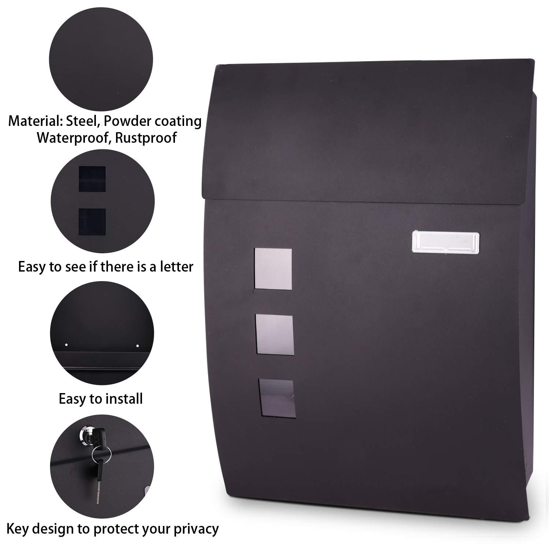 Voluker Buz/ón correos exterior,45x 10 x 32 cm,Buz/ón de exterior,Buz/ón exterior acero inoxidable,Negro