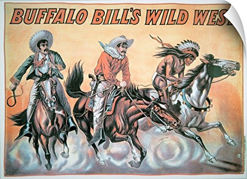 School American Wall Peel Wall Art Print entitled Poster for Buffalo Bill's (1846-1917) Wild West Show, (Wild West Costume Images)