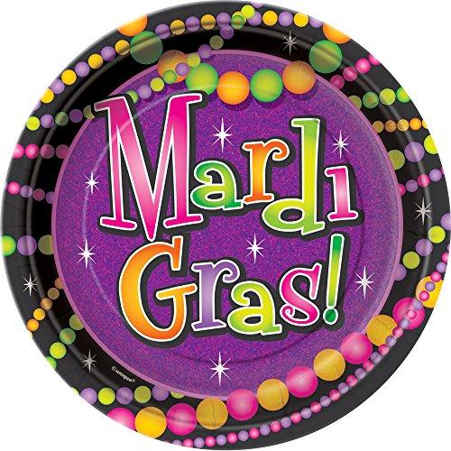 Bead Dessert - Mardi Gras Beads Dessert Plates, 8ct
