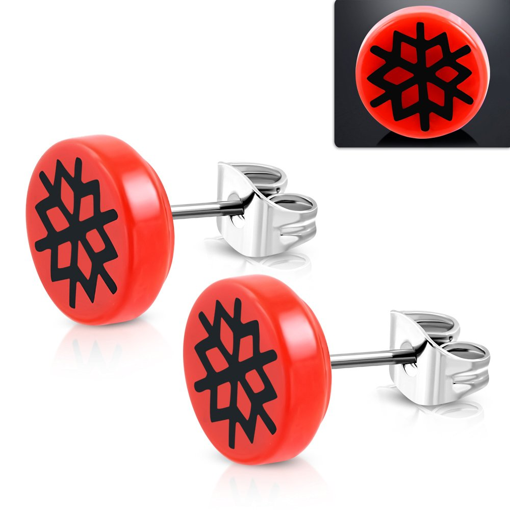 10mm Stainless Steel Stud w// Red Acrylic 3-tone Geometric Flower Round Circle Earrings - TTE324 pair