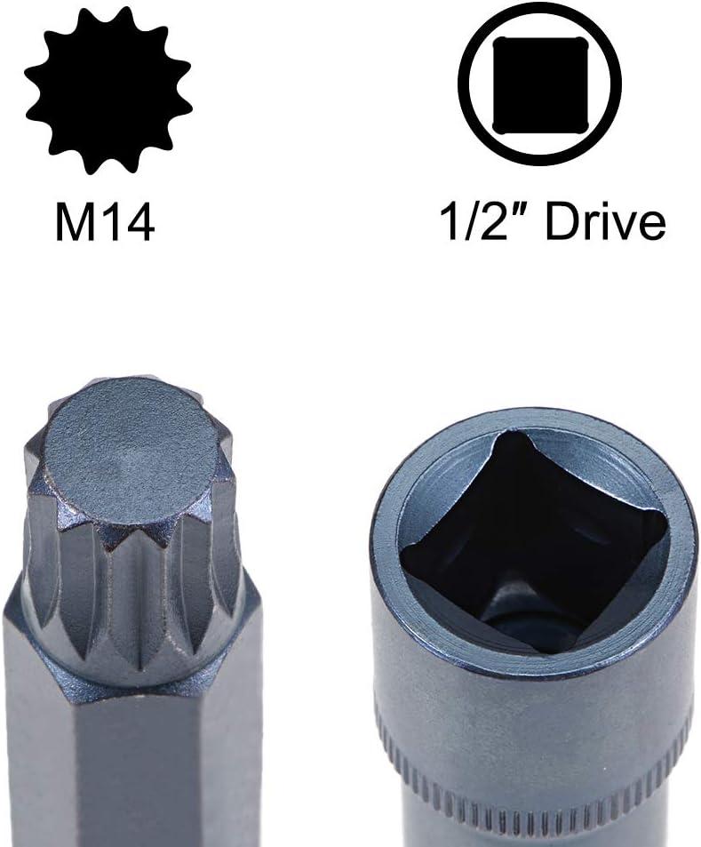 uxcell 1//2-Inch Drive x M10 Triple Square Spline Bit Socket Metric 5.5 Length