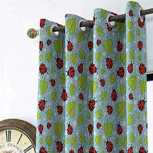 - Ladybugs Kitchen Gromets Curtain and Valances Set Bedroom Drapes, Polka Dots Pattern with Leaves and Beetles Summer Season Inspired Nature Cartoon Fashion Darkening Curtains, Multicolor, W96 x L72 I