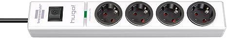 Brennenstuhl hugo! Steckdosenleiste 4-fach mit Überspannungsschutz (2m Kabel und Schalter, Gehäuse aus bruchfestem Polycarbon
