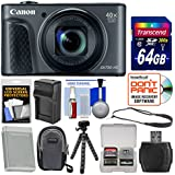 Canon PowerShot SX730 HS Wi-Fi Digital Camera (Black) 64GB Card + Case + Battery & Charger + Tripod + Strap + Kit