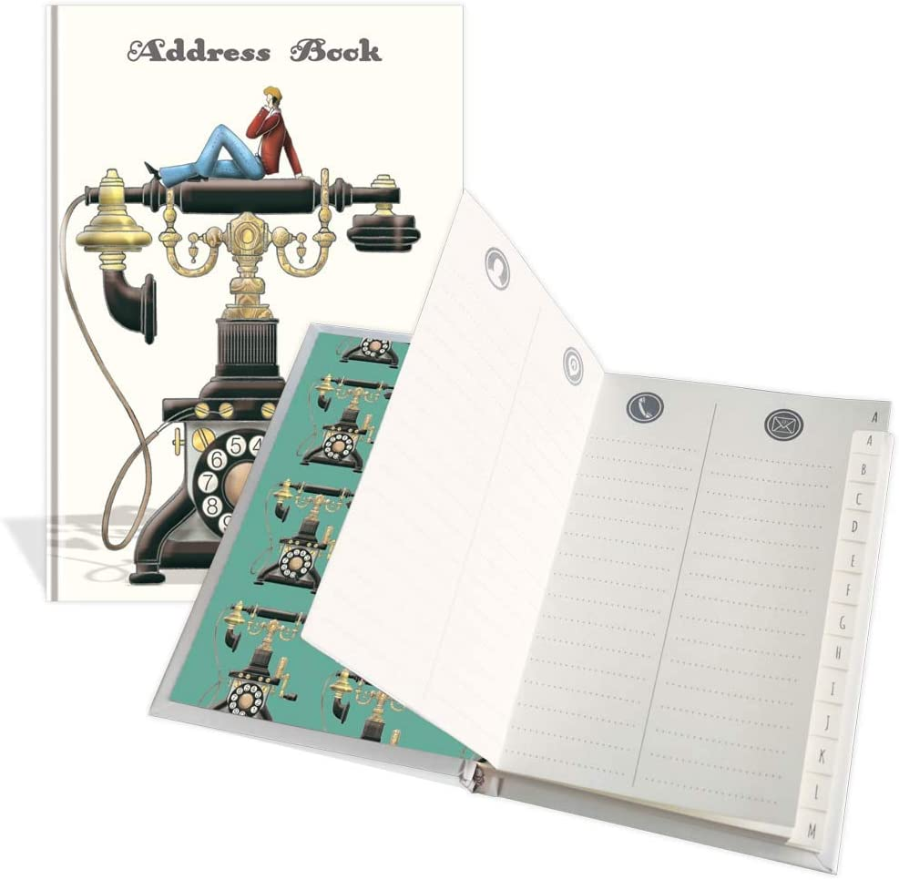 Rubrica per indirizzi tascabile di lusso dimensioni 91 mm x 130 mm designIm on the phone 104 pagine