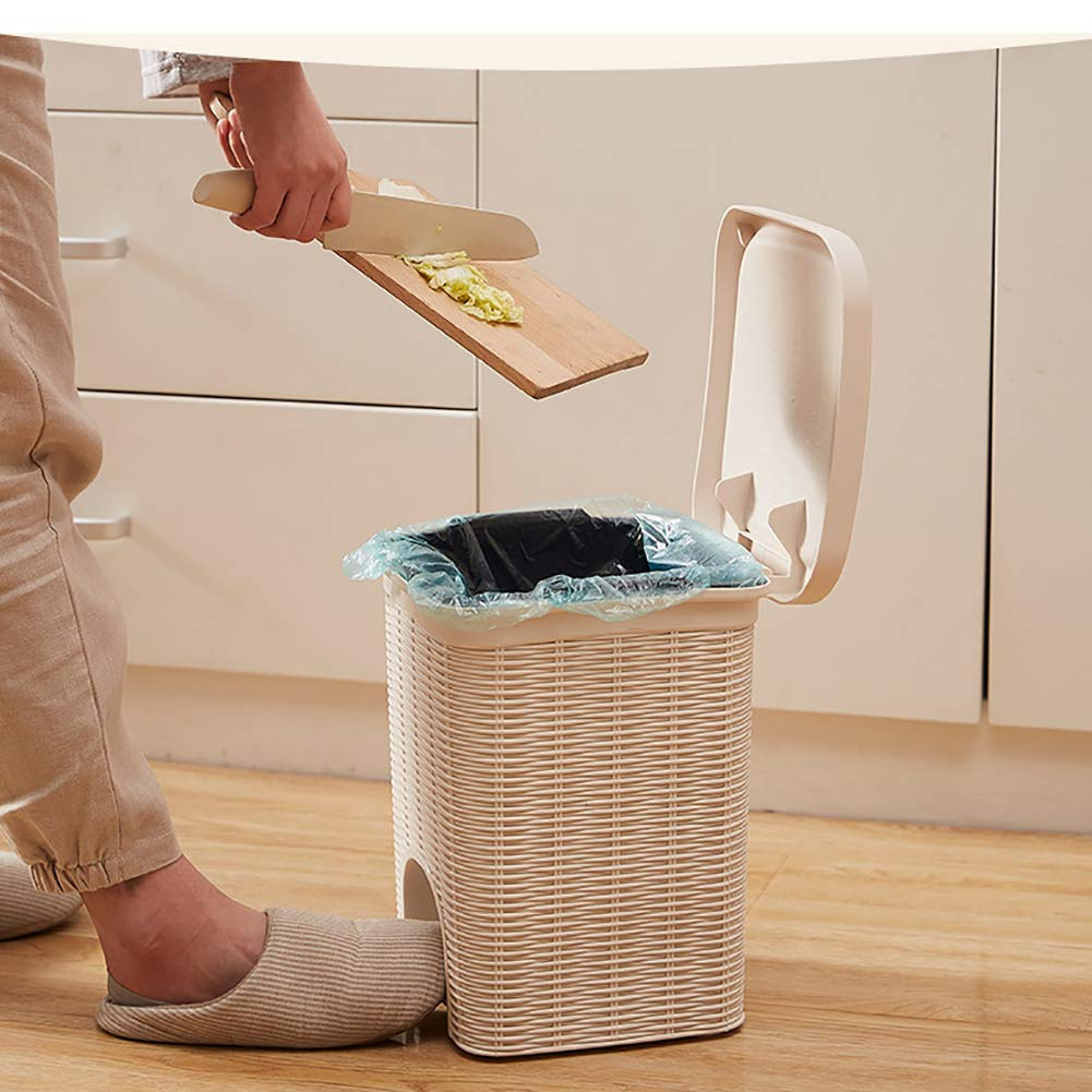 Plastic Square Home Pedal Garbage Bin with Member for Office Living Room Bedroom Bathroom Kitchen Wastebasket-Brown 20.3x20.3x27.2cm Rattan Step Trash Can