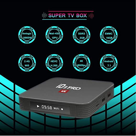 LOISK TV Box Android 7.1 - iD9PRO Smart TV Box Amlogic S905W Quad Core, 2GB RAM y 16GB ROM, 4K * 2K UHD H.265, HDMI, 2.4GHz WiFi, Web TV Box, Android Set-Top