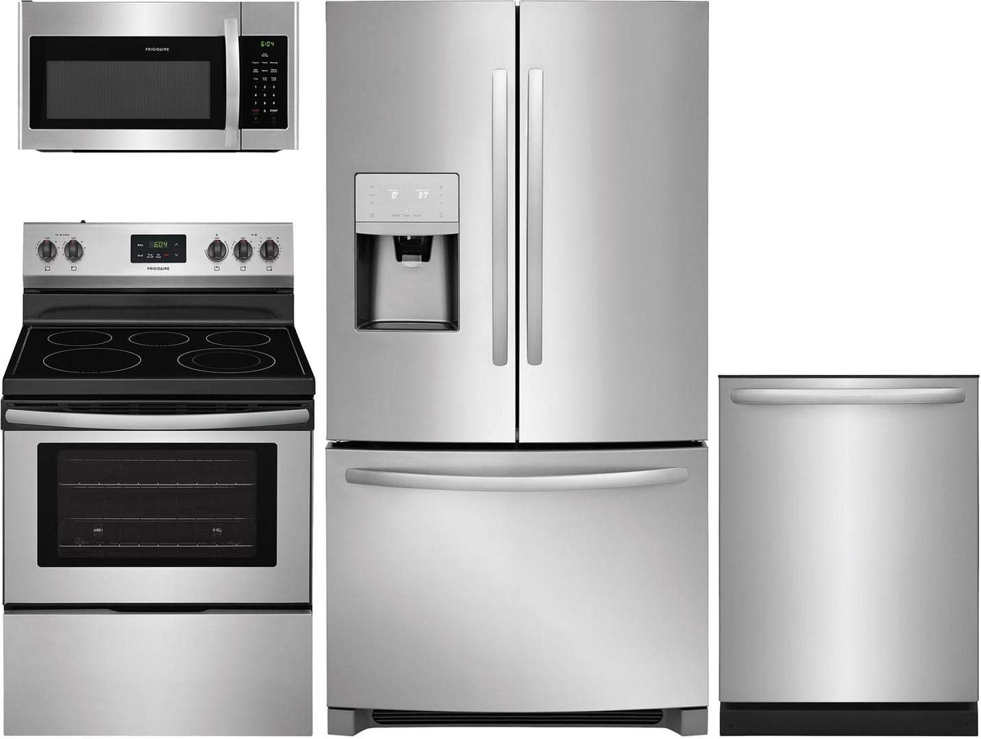 """Frigidaire 4 Piece Kitchen Package with FFHB2750TS 36"""" French Door Refrigerator, FFEF3052TS 30"""" Elec. Range, FFMV1645TS 30"""" Over the Range Microwave and FFID2426TS 24"""" Built In D/W in Stainless Steel"""