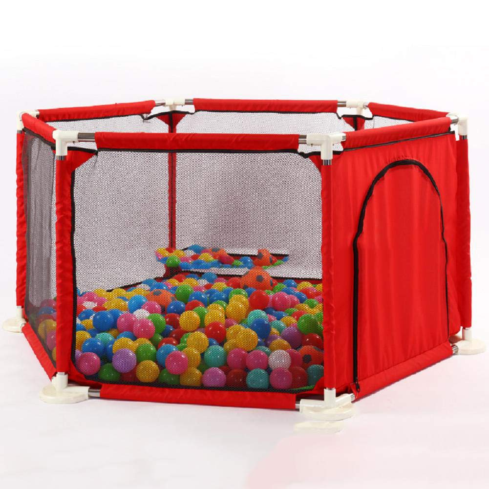 LVMAO Baby playpen,Indoor Children's Fence with Beach Ball Safety Products Baby Play Fence Safety Fence Crawling Fence,Red by LVMAO