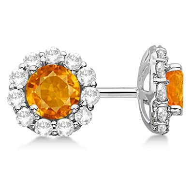 d5a71924a Image Unavailable. Image not available for. Color: Halo Citrine and Diamond  Stud Earrings 14kt White Gold 1.92ct.